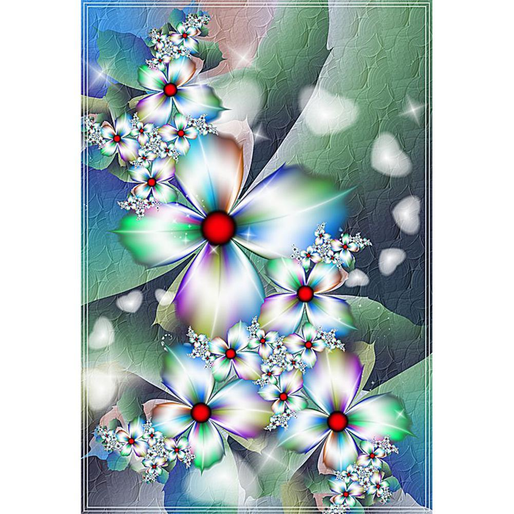 White Fantasy Flowers - Full Round Diamond Painting