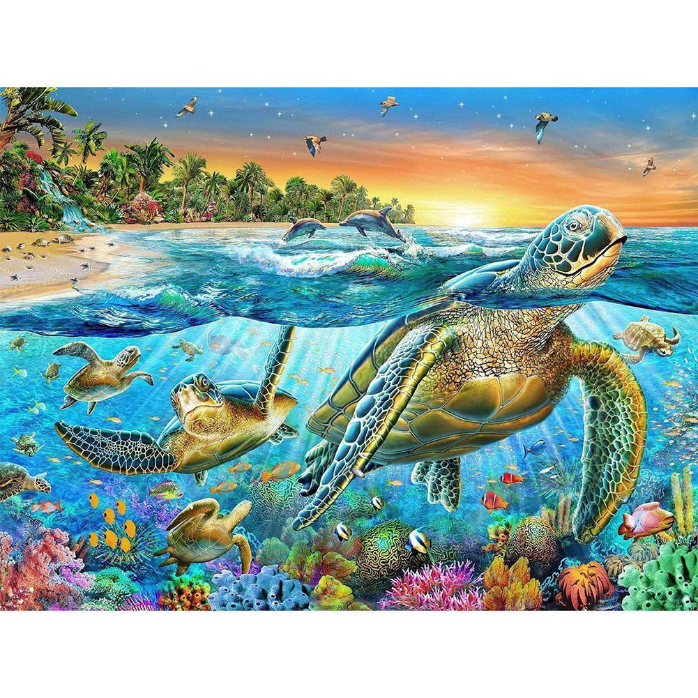 Sea Turtle Animal - Full Round Diamond Painting