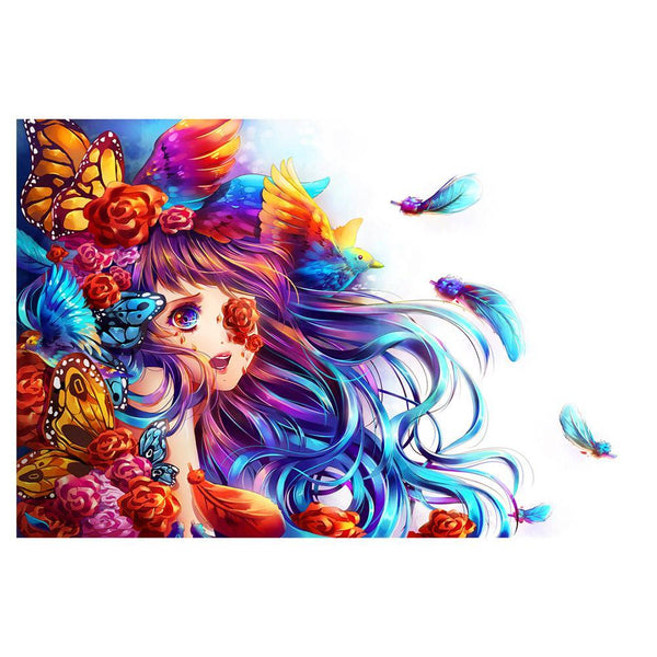 Flowers Butterfly Girl - Full Round Diamond Painting
