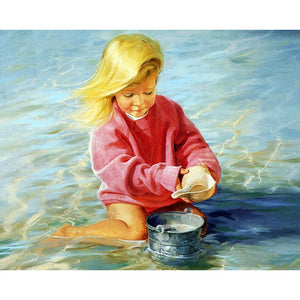 Seaside Playing Sand Girl - Partial Round Diamond Painting
