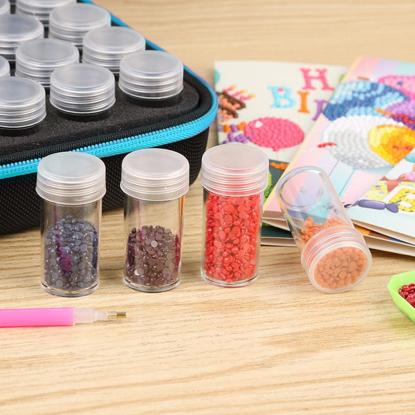 30 Bottles Diamond Painting Charms Box Embroidery Tool Storage Hand Bag