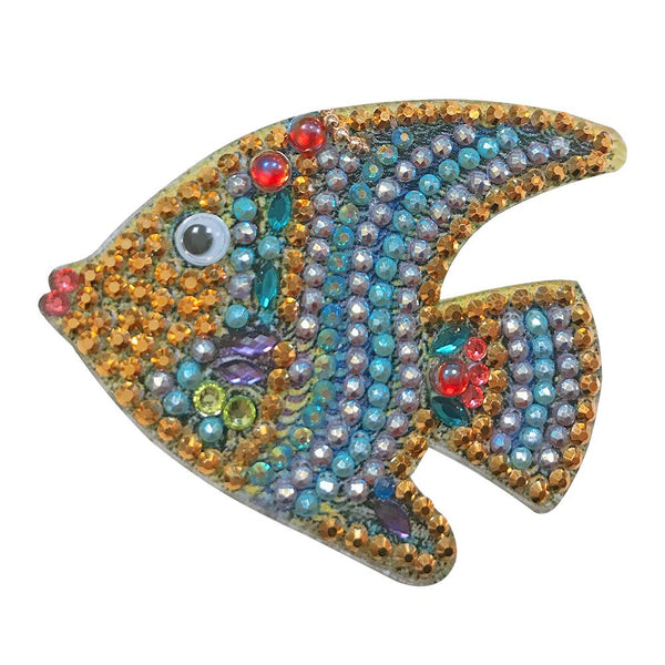 5pcs DIY Cartoon Fish Diamond Painting Keyring Cross Stitch Keychain Decor