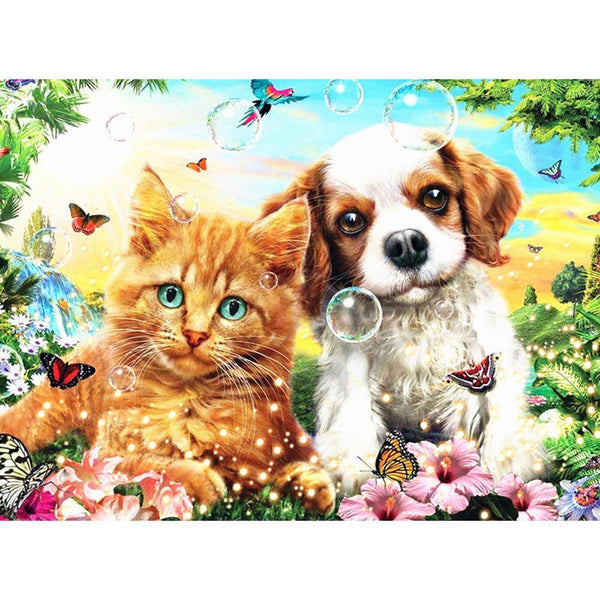 Dog Cat - Full Round Diamond Painting