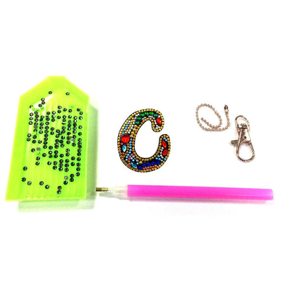 1 Pc DIY Diamond Painting Keychain - Letter C