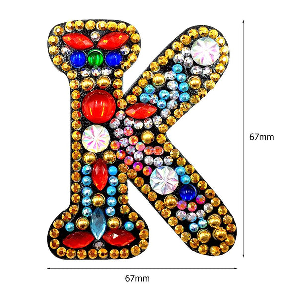 1 Pc DIY Diamond Painting Keychain - Letter K