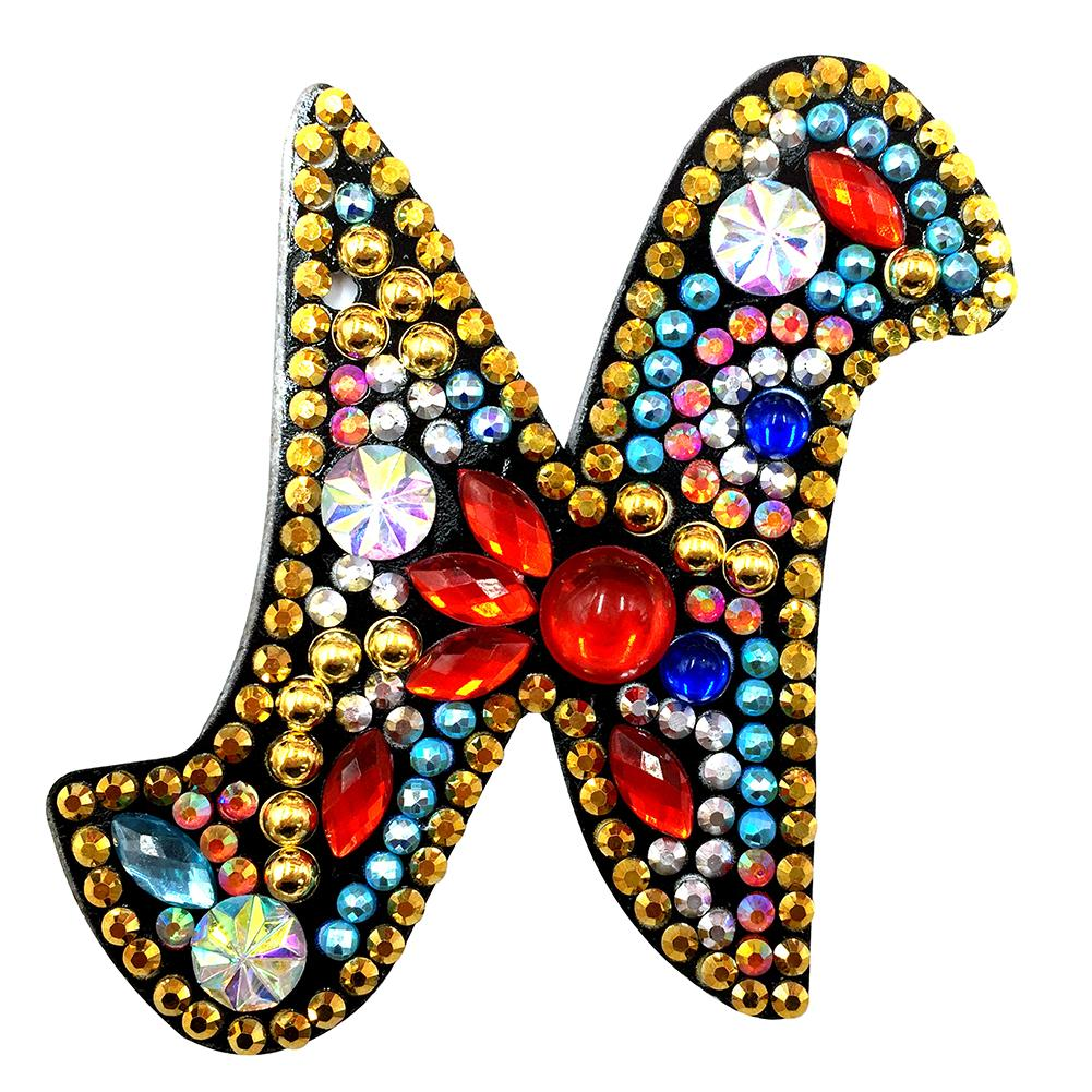1 Pc DIY Diamond Painting Keychain - Letter N
