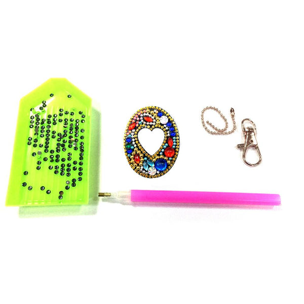1 Pc DIY Diamond Painting Keychain - Letter O