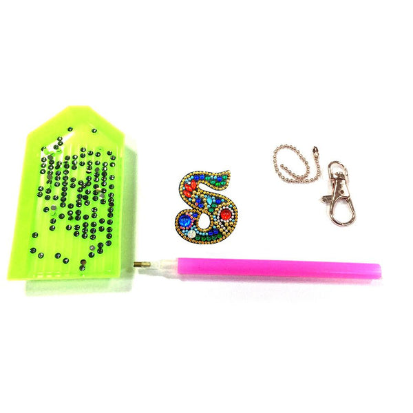 1 Pc DIY Diamond Painting Keychain - Letter S
