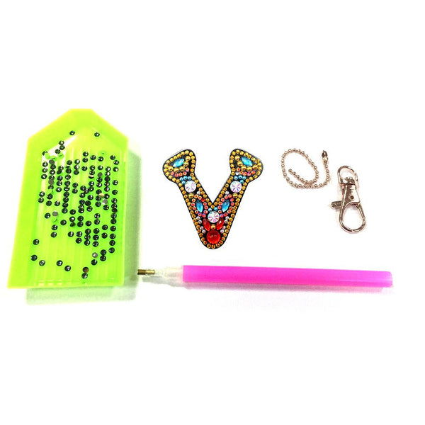 1 Pc DIY Diamond Painting Keychain - Letter V