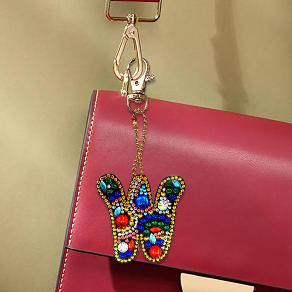 1 Pc DIY Diamond Painting Keychain - Letter W