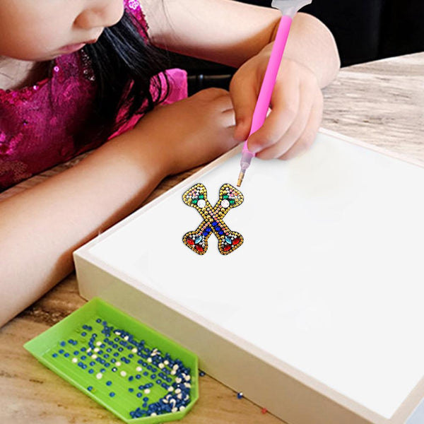 1 Pc DIY Diamond Painting Keychain - Letter X