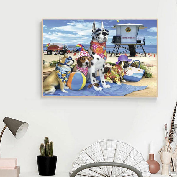 Seaside Dogs - Full Round Diamond Painting