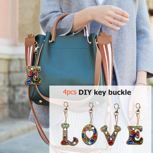 4pcs/set DIY Love Full Drill Special Shaped Diamond Painting Keychain Gifts