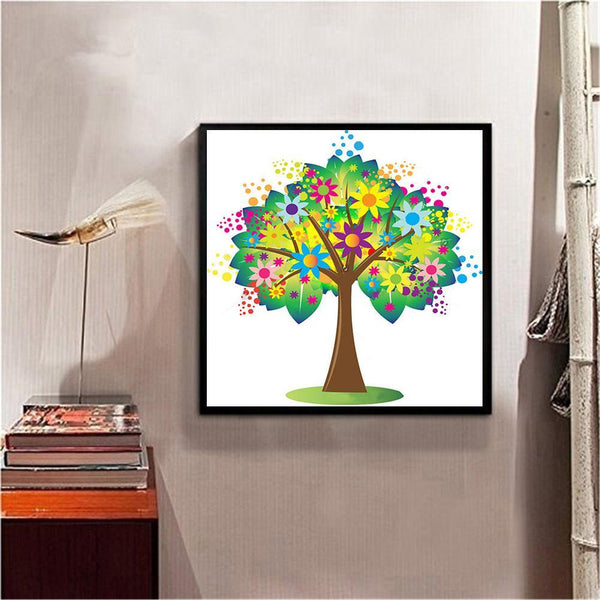Colorful Heart Tree - Full Round Diamond Painting