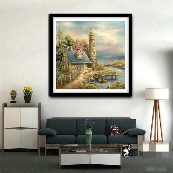 Lighthouse View - Full Round Diamond Painting