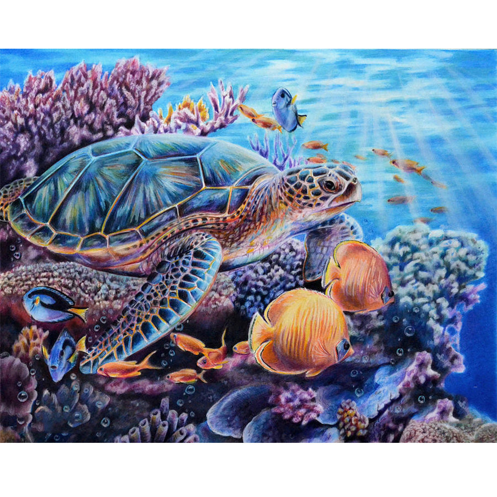 Sea Turtle and Fish - Full Round Diamond Painting