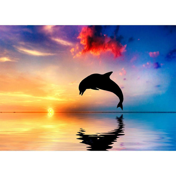 Sunset Jumping Dolphin - Full Round Diamond Painting