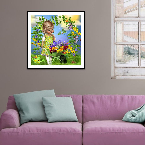 Flower Little Girl - Full Round Diamond Painting