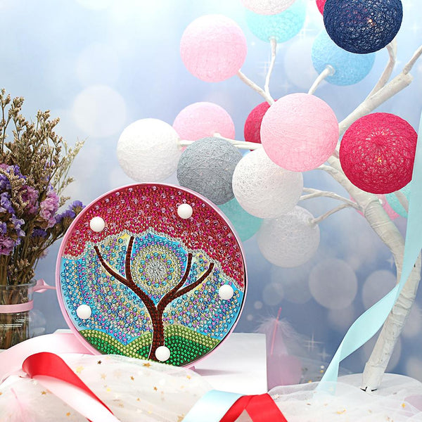 DIY Red Tree Diamond Painting Light Special Full Drill LED Night Decor Lamp