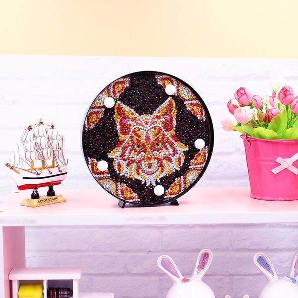 DIY Full Drill Diamond Painting Lamp Wolf LED Light Home Decor