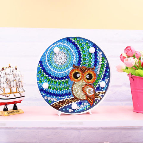 DIY Full Drill Diamond Painting Lamp Owl LED Light Home Decor