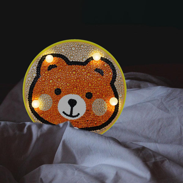 DIY Cute Bear Diamond Painting LED Lamp Full Drill Light