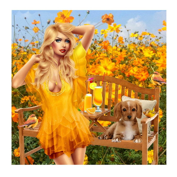 Girl in Yellow Dress - Full Round Diamond Painting