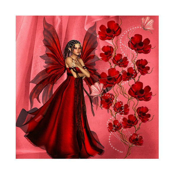 Girl in Red Dress - Full Round Diamond Painting