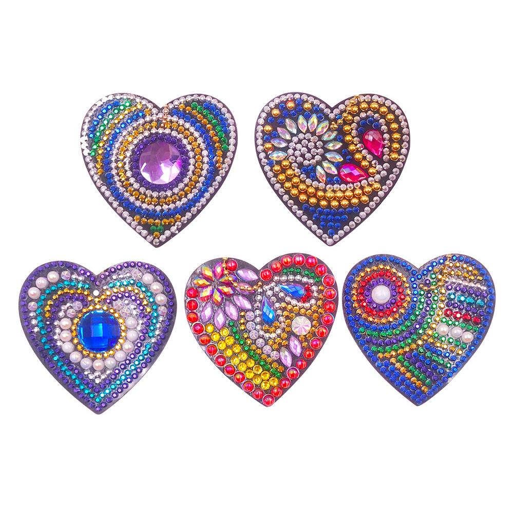 5pcs DIY Diamond Painting Keychain Full Drill Bag Love Hanging Ornaments
