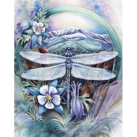 Dragonfly Flower - Full Round Diamond Painting