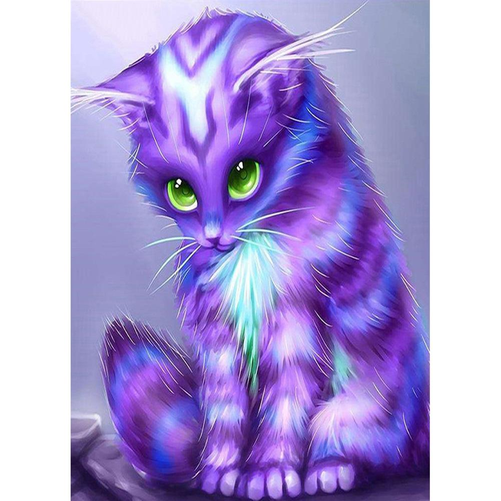 Purple Cat - Full Round Diamond Painting