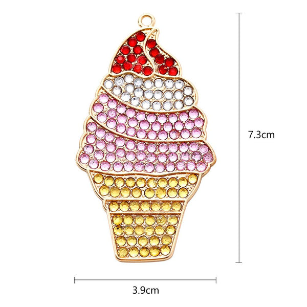 DIY Full Drill Diamond Painting Key Chain Ice Cream Necklace Bag Pendant