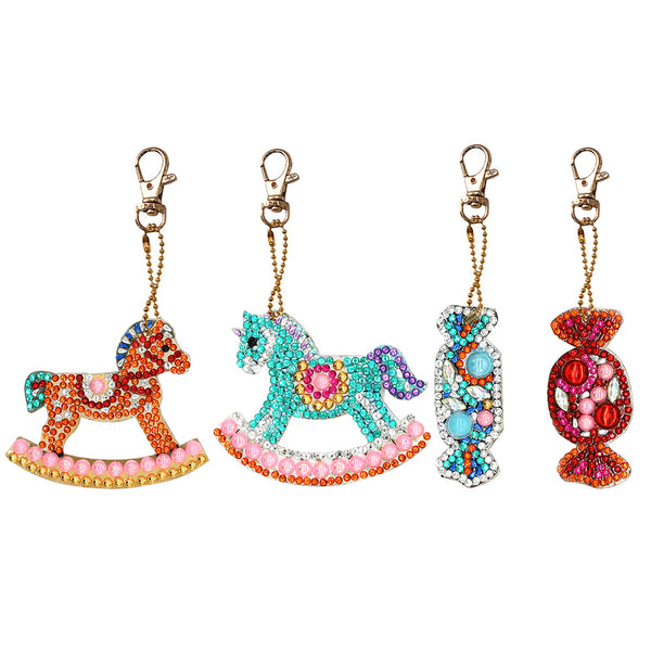 4pcs DIY Full Drill Special Shaped Diamond Painting Horse Candy Keychains