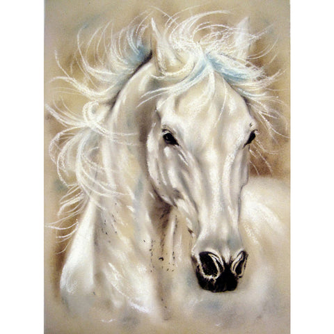 White Horse - Full Round Diamond Painting