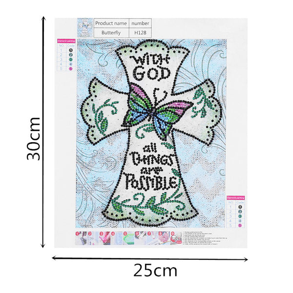 Butterfly and Cross - Crystal Rhinestone Diamond Painting