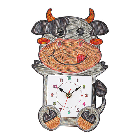 DIY Cow Full Drill Diamond Painting Embroidery Clock Children Room Decor