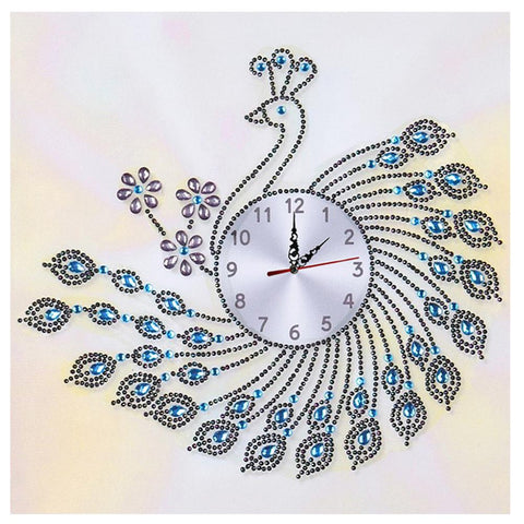 DIY Peafowl Special Shaped Diamond Painting Cross Stitch Clock Home Decor