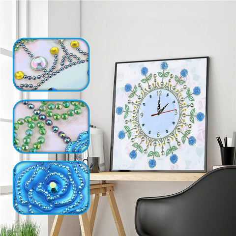 DIY Flower Special Shaped Diamond Painting Cross Stitch Clock Home Decor
