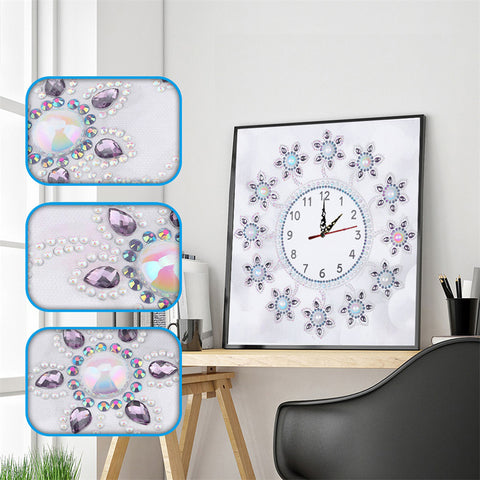 DIY Special Shaped Diamond Painting Flower Embroidery Wall Clock Home Decor