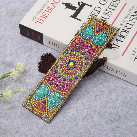 DIY Special Shaped Diamond Painting Leather Bookmark Tassel Book Marks Gift