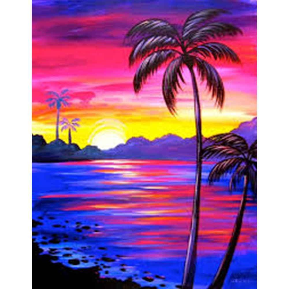 Beach Coconut Tree - Full Round Diamond Painting