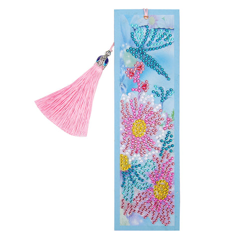 DIY Flower Special Shaped Diamond Painting Leather Tassel Bookmark Crafts