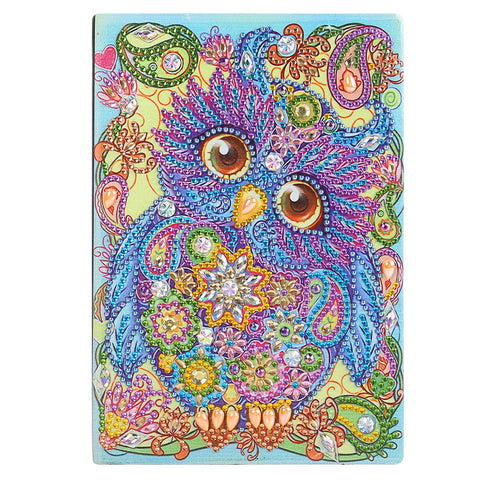 DIY Special Shaped Diamond Painting Owl Bird 50 Pages A5 Drawing Notebook