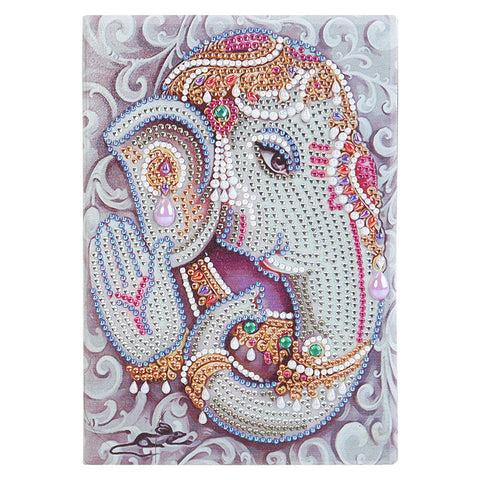 DIY Elephant Special Shaped Diamond Painting 50 Page A5 Notebook Sketchbook