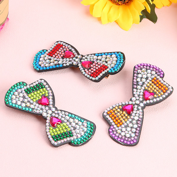 3pcs Bow Love DIY Full Drill Diamond Painting Hair Clip Women Girl Hairpin