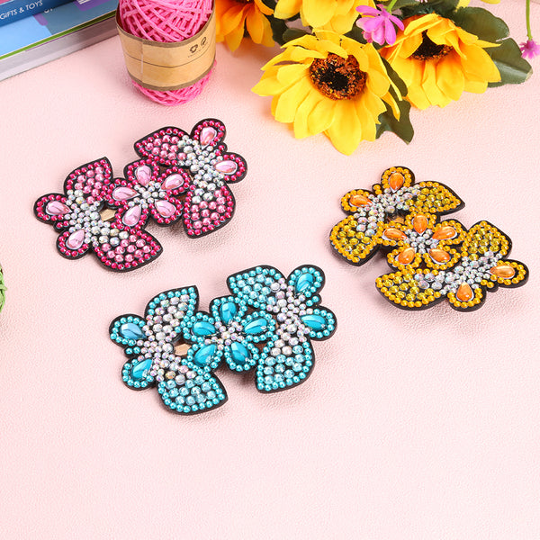 3pcs DIY Full Drill Diamond Painting Hairpin Butterfly Flower Girl Headwear