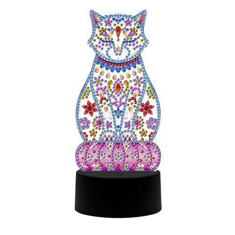 DIY Special Shaped Diamond Painting Cat LED Light Cross Stitch Embroidery