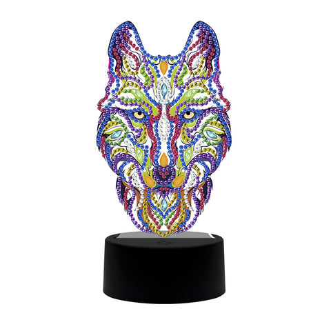 DIY Special Shaped Diamond Painting Wolf LED Light Cross Stitch Embroidery