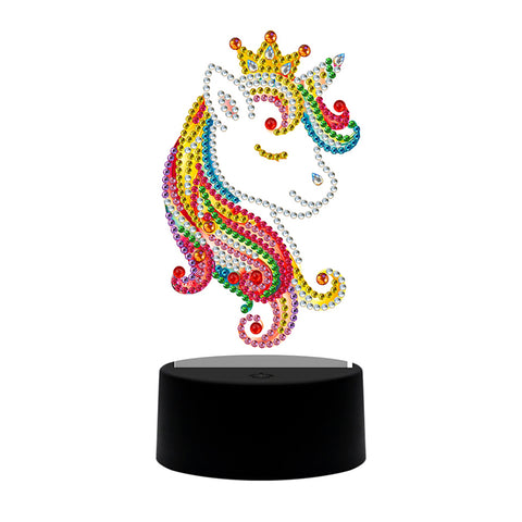DIY Diamond Painting LED Light Crown Horse Embroidery Night Lamp Needlework