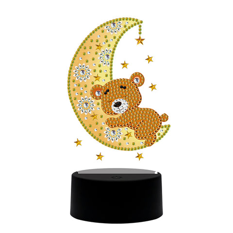 DIY Diamond Painting LED Light Moon Bear Embroidery Night Lamp Ornament Kit